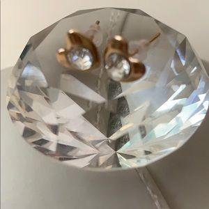 Gold tone crystal heart earrings